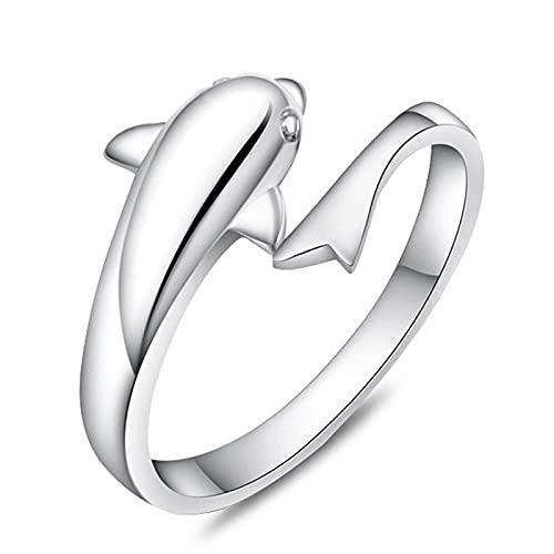 Anillo ZIYUYANG, accesorios anillo de plata esterlina abierto delfín damas día de la madre regalo de dama de honor cambiable