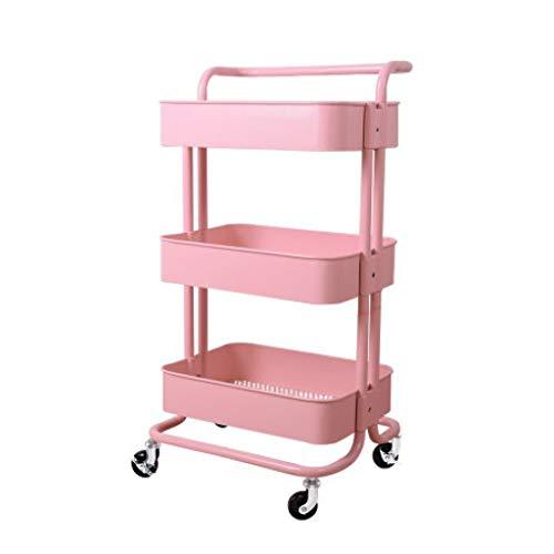 GFL Carro Utilitario de 3 Niveles, Carro de Almacenamiento con Ruedas para Trabajo Pesado, de Múltiples Fines Metal Carretilla Carro Organizador para Baño Cocina Lavadero (Color : Pink)