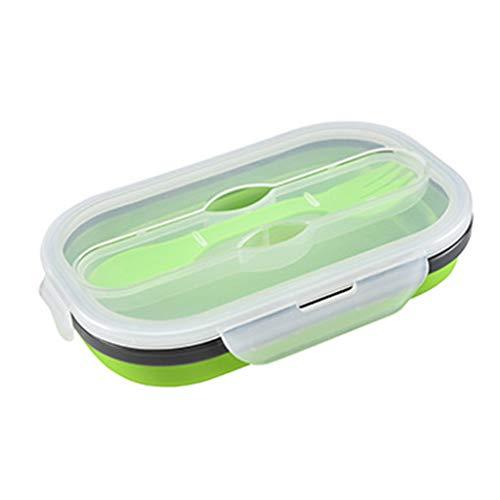 YU-HELLO _Fiambrera de silicona de grado alimenticio, fcil de limpiar, a prueba de fugas, fiambrera para estudiantes y trabajadores de oficina