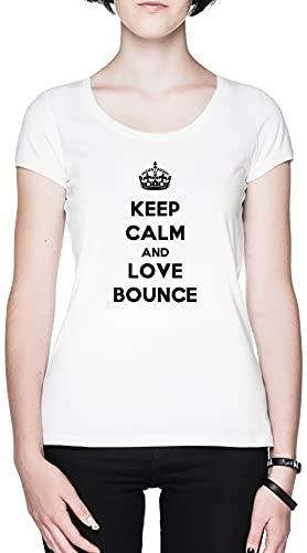 Keep Calm and Love Bounce Blanca Mujer Camiseta Tamaño XL White Women's tee Size XL