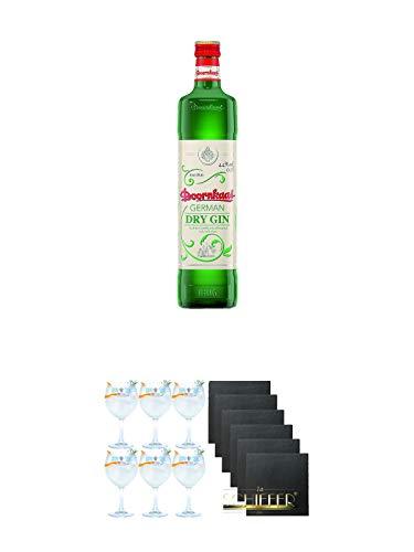Doornkaat German DRY GIN 0,7 Liter + Gin Sul Copo Ballon Glas 6 Stück + Schiefer Glasuntersetzer eckig 6 x ca. 9,5 cm Durchmesser