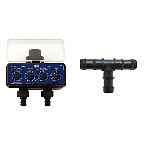 Aqua Control C4011 - Programador De Riego para Jardín - para Todo Tipo De Grifos - con 2 Salidas Independientes + S&M 541995 Te De Goteo 16 Mm-Blíster 50 Unidades, Negro, 10 X 14,5...