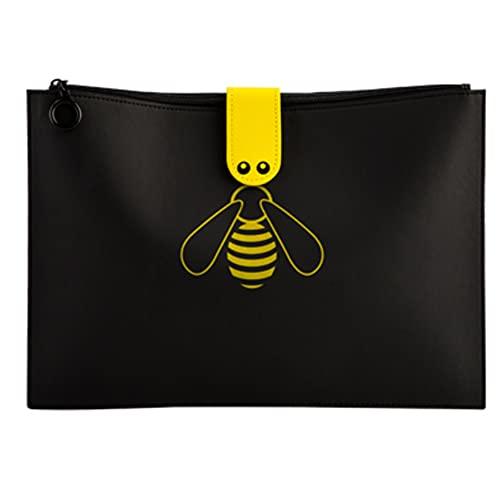 Carpeta de piel sintética para archivos, bolsa de archivo de abeja de 24,5 x 35 cm, bolsa de documentos con cremallera de gran capacidad, portátil, impermeable para soporte de documentos A4