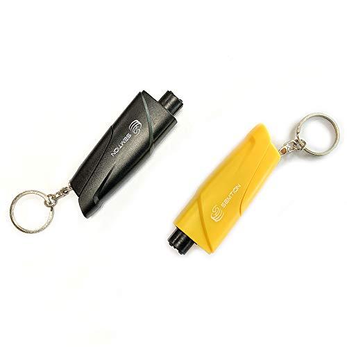 SEMTION Safety Hammer Window Glass Breaker Seat Belt Cutter for Car Pack of 2 BlackYellow