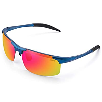 OSLOB Polarized Sports Sunglasses for Cycling Running Driving TR90 Sunglasses ST002BLU