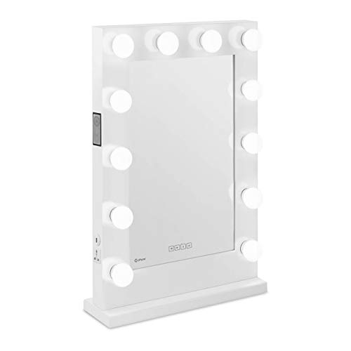 Physa Espejo Hollywood De Maquillaje PHY-CMS-11 White (Marco Blanco, 12 Bombillas LED 6.400 K / CRI 80, Rectangular, con Enchufe, USB y Altavoz)
