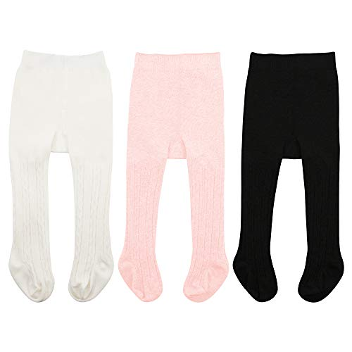 Zando Toddler Seamless Leggings Pantyhose for Girls Newborn Cable Knit Tights for Baby Girls Boot Tights Infant Leggings Pants Stockings Baby Spring Clothes 3 Pack - White, Black, Ballet Pink Medium