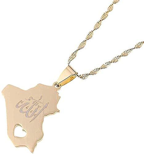 Yiffshunl Collar con Colgante de Mapa de la República de Irak, Colgante de Nombre de Allah de Color Dorado, joyería de corazón de Allah, Collar para Mujer