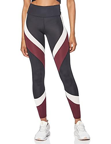 Amazon-Marke: AURIQUE Damen Colour Block-Sportleggings, Schwarz (Black/Port Royale/Blush), S