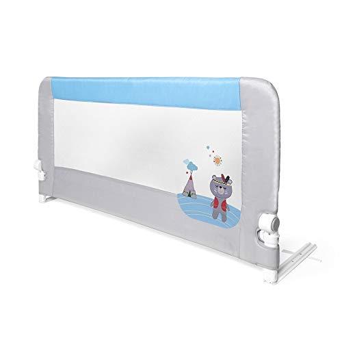 Interbaby - Barandilla Anticaídas Abatible Para Camas Infantiles - 150 Cm - Osito Azul, 3000 g, AZBR005-01