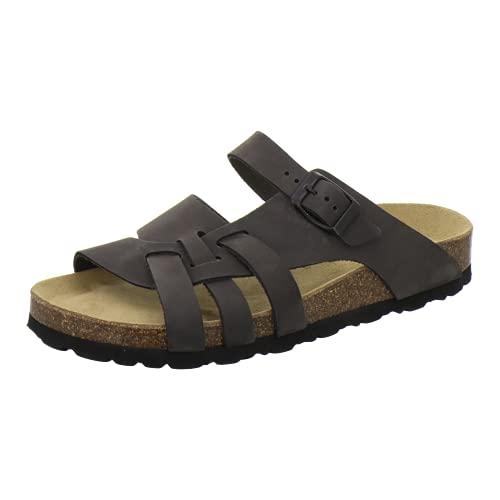 AFS-Schuhe 2122 Damen Pantoletten Sommer aus echtem Leder, hochwertige Sandalen für Frauen, Made in Germany (41 EU, grau/Stone)
