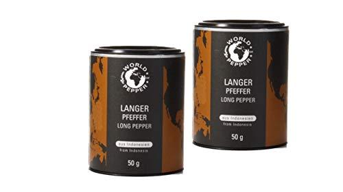 Langer Pfeffer - World of Pepper -2x 50g - Stangenpfeffer aus Indonesien - Premium Qualität mit Zufriedenheitsgarantie