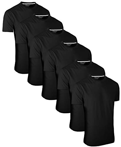 FULL TIME SPORTS 6 Pack FTS-634 Rundhals Tech T-Shirts (Large, Schwarz)