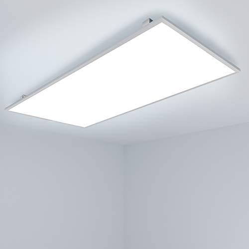 OUBO LED Panel 120x60cm Deckenleuchte Slim 72W 7900 Lumen Kaltweiß 6000K Silberrahmen, Einbauleuchten Set 230V, Deckenleuchte Pendelleuchte Wandleuchte, inkl. Trafo und Anbauwinkel