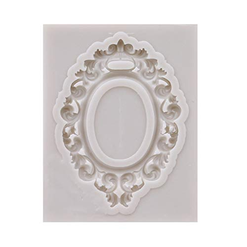 SEVENHOPE Europäische antike Spiegelrahmen Fondantform DIY Schokolade Kuchen dekorieren Tools (grau 6)
