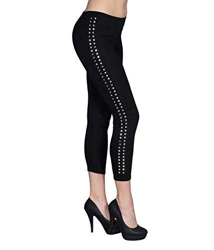 Berry Belle JadeBB Nieten Leggings Cuts Risse am Knie Sexy Glamour Stretch Matt Dessous 2 Farben (M/L, Schwarz/Nieten Seite)
