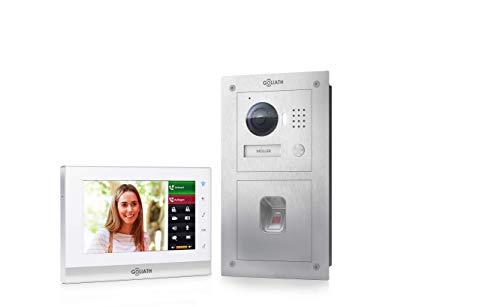 Goliath 2 Draht Video Gegensprechanlage, Unterputz HD Türstation 150°, Edelstahl, App mit Türöffner Funktion, Fingerprint, Einfamilienhaus