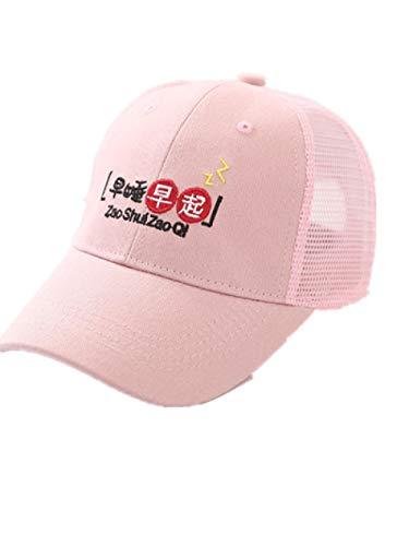 AQ1 Chapeau bébé réglable Casquette de Baseball d'été Ombre Chapeau de Soleil Protection Solaire Maille casquette-5-10 Ans_48-54cm_ tôt au lit et tôt pour Se Lever Rose
