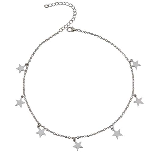 Crystal Star Charm Choker for Women Silver/Gold Crystal Choker Necklace Star Charm Choker Adjustable 12-14 inch - Sliver