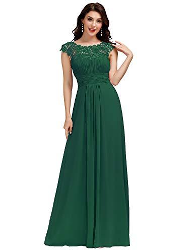 Ever-Pretty Vestiti da Festa Donna Linea ad A Elegante Stile Impero Chiffon Abiti da Damigella d'Onore Verde Scuro 48