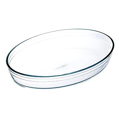 Fuente de vidrio oval de 6,5 x 35 x 24 cm con una capacidad de 3 litros. Bandeja de cristal válida para horno para cocina o repo