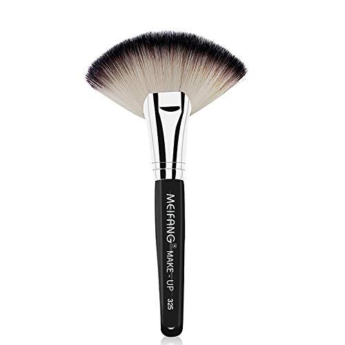Pinceau De Maquillage Capacité De Réparation Lâche Poudre En Forme D'éventail Cosmétiques Outils De Beauté Haute Brillance Contour Maquillage Pinceau 3.94 * 6.89In (Noir)