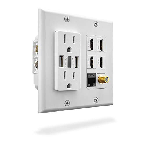 Premium Media Wall Outlet | 3.4A USB Wall Outlets - 4 HDMI Wall Outlet - Cat6 Rj45 Ethernet Port - 15A Dual Power Outlet - Coax Cable Wall Plate - Gloss White Face Plate