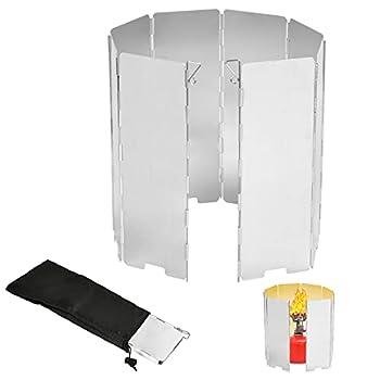 EKKONG Pare-Vent Pliable en Alliage d'aluminium,Plates Pare-Brise de Camping, 8/10/12/16 Assiettes Pare-Vent de Camping Portable réchaud de Camping, Très Durable (8 pièces)
