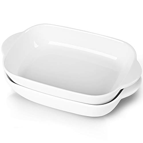 LEETOYI Ceramic Small Baking Dish, Porcelain 2-Piece Rectangular Bakeware with Double Handle, Baking Pans for Cooking and Cake Dinner 7.5'×5(Off White)