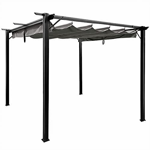 Sekey Garten Pavillon Pergola 3x3m Aluminum, Wasserdicht Sonnendach mit Schiebedach für Garten Terrasse, UV Beschattung, Grau
