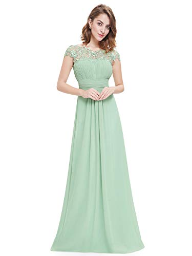 Ever-Pretty Damen A-Linie Abendkleid Spitze Festliches Kleid Frauen Zeremonie Lange Mint Grün 42