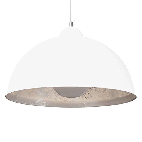 Moderne Hängelampe STUDIO weiß silber Lampe E27 60W Blattsilber Optik Hängeleuchte Pendelleuchte Wohnzimmer Metall