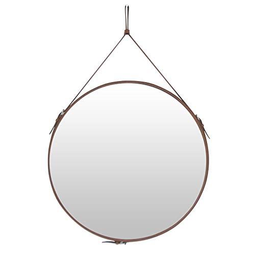 HofferRuffer Espejo de pared redondo de 60 cm, con cinturón, para colgar de la pared, para colgar con correa redonda, para baño, color marrón