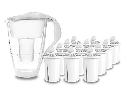 GLAS-Wasserfilter PearlCo (weiß) mit 12 classic Filterkartuschen - passt zu Brita Classic