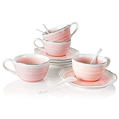 SWEEJAR Ceramic Tea Cup and Saucer Set, 8 Ounce for Coffee Drinks, Latter, Café Mocha and Tea, Wedding, Gift, Afternoon Tea Part - Set of 4(Pink3)