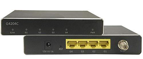 G.hn Wave2 EoC Adapter - Gigabit Ethernet Over Coax, Netzwerk über Koaxialkabel (1600 Mbit/s, Latenz <1ms, 2-200MHz) (G4204C 4xGE)