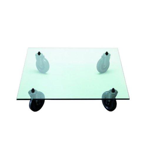 TAVOLO CON RUOTE salontafel op wielen 110 x 110 cm Transparant