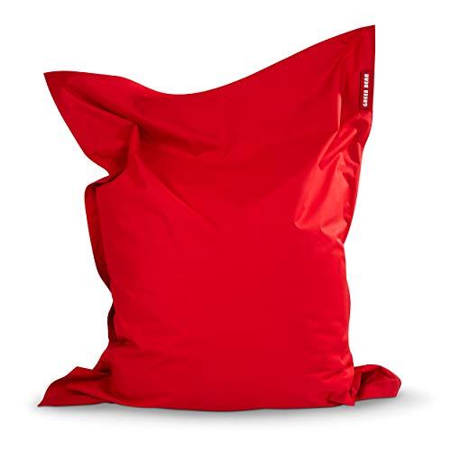 Green Bean © Square XL Riesensitzsack 120x160 cm - 270 Liter EPS Perlen Füllung - PVC Bezug - Indoor & Outdoor Sitzsack - Gaming Sitzkissen Bean Bag Lounge Chair - Kinder & Erwachsene - Rot