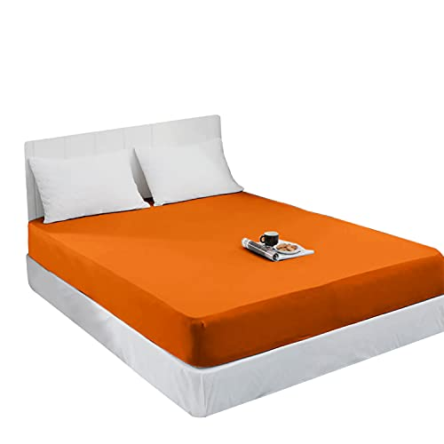 Mixibaby Spannbettlaken Jersey Spannbetttuch 100% Baumwolle Bettlaken Spannbettuch Laken 28 Farben, Größe:140 x 200 cm, Farbe:Orange