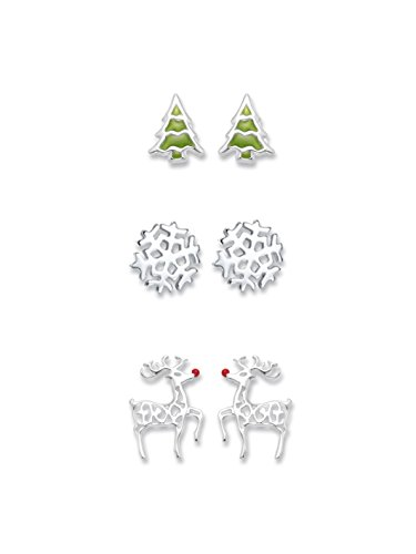 Heather Needham Sterling Silver Christmas Earrings set: Christmas tree, Rudolph red nosed reindeer & Snowflake earrings in a gift box NEW LOWER PRICE 04550 set