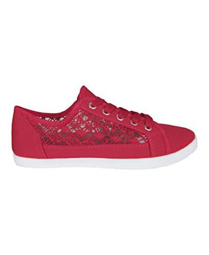 KRISP Zapatilla Mujer Crochet Red Moda, Rojo, 36 EU (3 UK), 3297-RED-3