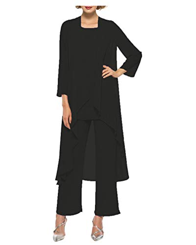 YSMO Women's Mother Of The Bride 3 Pieces Long Jacket Dress Party