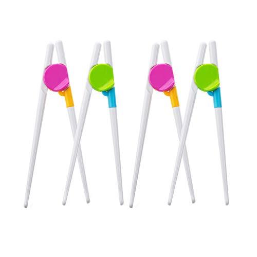 Gobesty Palillos de Entrenamiento para Principiantes, 4 pares para niños Formación palillos de entrenamiento fáciles de usar para niños y adultos