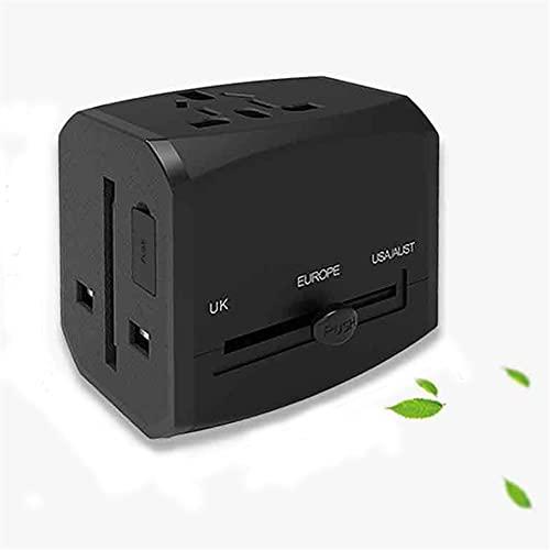 CHICAI Adaptador Internacional Adaptador Transporte 3 USB Trabajo Universal de Puertos para 150 países 120 voltios para el Adaptador para Reino Unido Japón China Europa Europa Europa (Color : Negro)