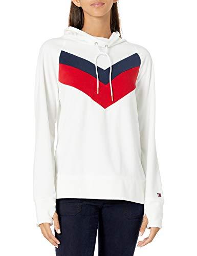 Tommy Hilfiger Women's Premium Performance Long Sleeve Fleece Pullover Sweatshirt, Colorblock Cloud, X-Large