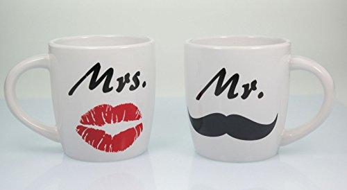 Tassen Mr & Mrs aus Porzellan - Paartasse mit Kußmund & Schnurrbart - Partnertassen in dekorativer Geschenkpackung schönes Geschenk zur Hochzeit - Set bestehend aus 2 Tassen