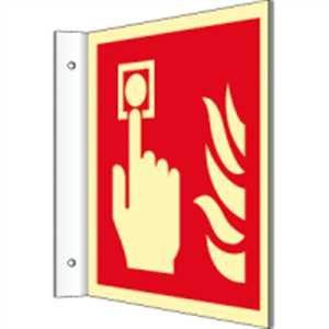Vaandelplaat Brandmelder volgens ISO 7010 HIGHLIGHT PVC 20 x 20 cm met 2 boringen à 3 mm Ø Lichtdichtheid: HIGHLIGHT 48 mcd/m2 volgens ISO 7010, F005