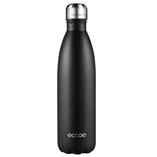 Ecooe Thermosflasche 750ml Doppelwandig Trinkflasche Edelstahl Wasserflasche Vakuum Isolierflasche Schwarz
