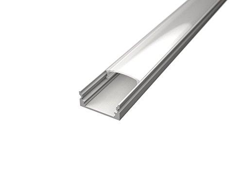 TL1205 Profilé en aluminium blanc, 2 m, pour rubans LED, avec diffuseur mat ou transparent, embouts et clips de fixation inclus cover opaca