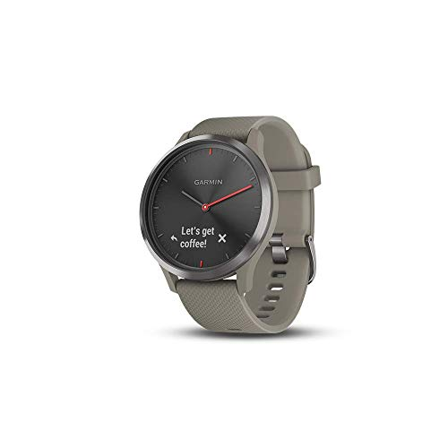 Garmin vivomove HR, Hybrid Smartwatch for Men and Women, Black with Sandstone Silicone Band (Renewed)